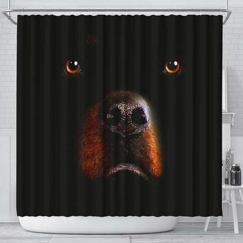 Rottweiler Dog On Black Print Shower Curtains-Free Shipping