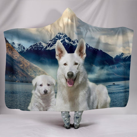White Shepherd Print Hooded Blanket-Free Shipping