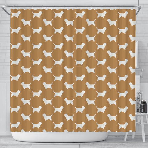 Petit Basset Griffon Vendeen Dog Pattern Print Shower Curtains-Free Shipping