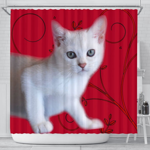 Burmilla Cat Print Shower Curtain-Free Shipping