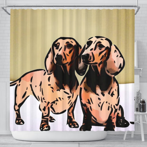 Amazing Dachshund Dog Print Shower Curtain-Free Shipping