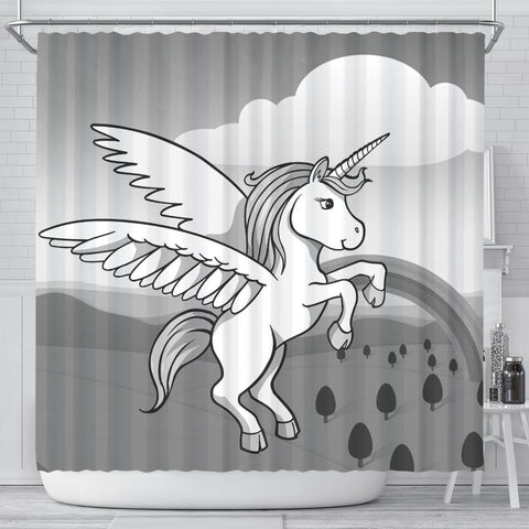 Cute Unicorn Print Shower Curtain-Free Shipping