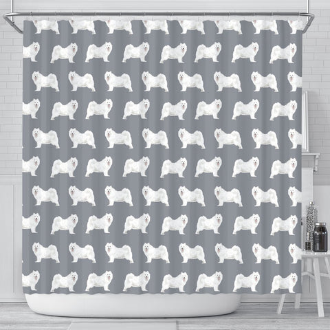 Samoyed Dog Pattern Print Shower Curtains-Free Shipping