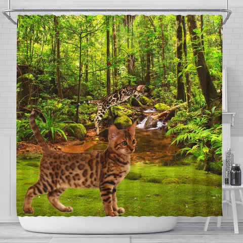 Bengal Cat Print Shower Curtains-Free Shipping