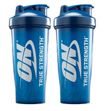 2 PACK  28 oz Optimum Nutrition Blender Bottles | Royal Blue w/ ON True Strength Logo