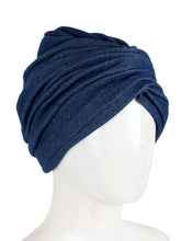 Side view of denim turban