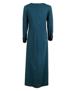 Back view of teal and navy blue maxi dress