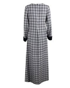 Back view of tartan maxi work abaya