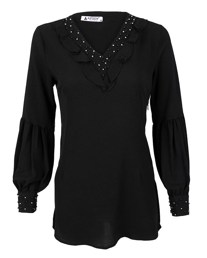 Black Pearl Detail Blouse