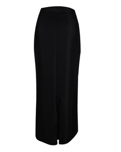 Straight black maxi work skirt showing kick split