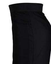 Side view of black maxi skirt