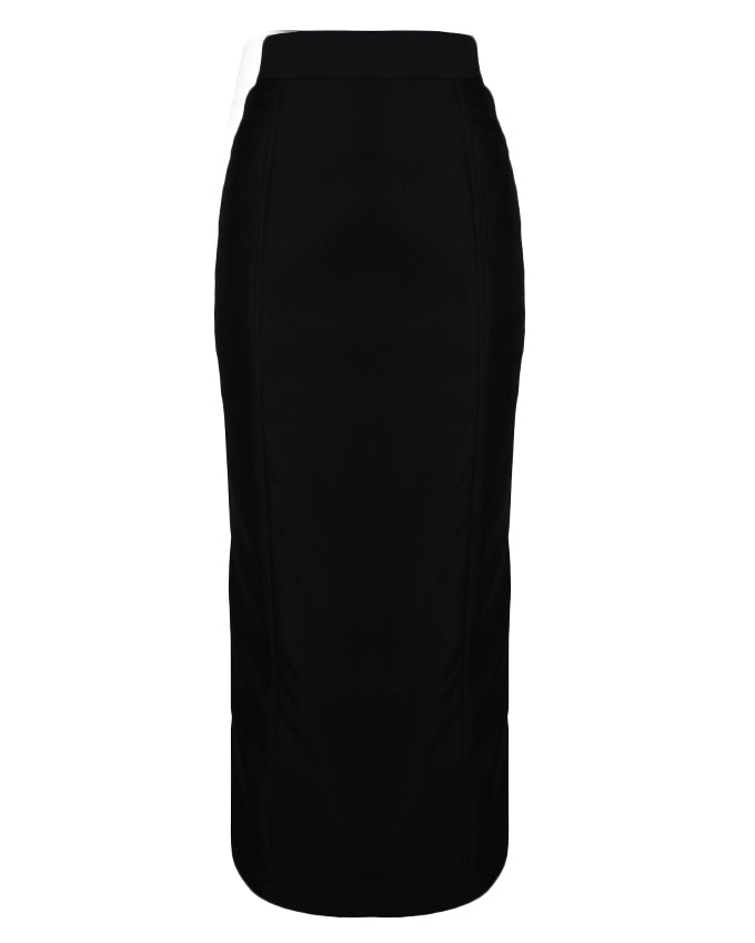 Straight black maxi work skirt