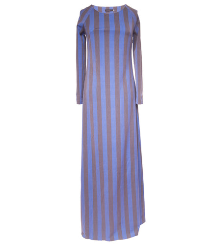 Blue and Grey A-line striped Maxi dress