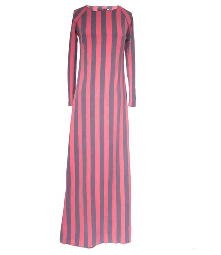 Pink and Grey A-line striped maxi dress
