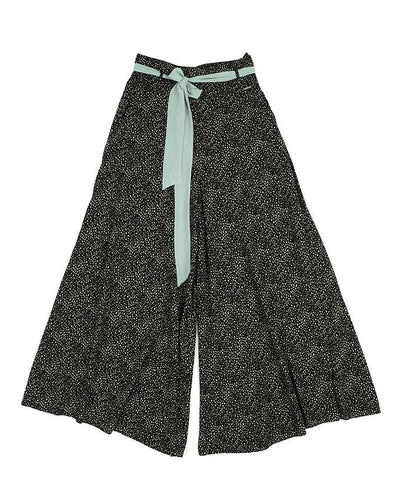 Black and Mint Print Palazzo Pants