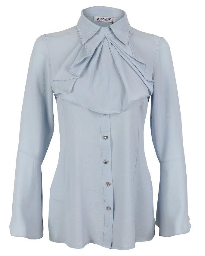 Blue Frill Neck Blouse