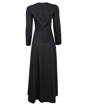 Black view of fitted black maxi dress