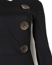 Gold detail button on black maxi dress