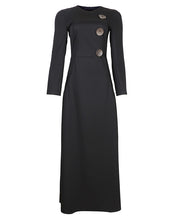 Black maxi dress with gold buttons