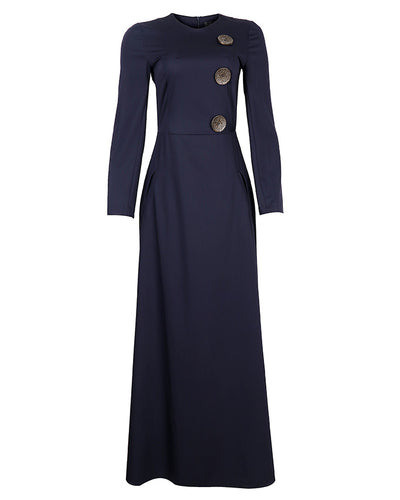 Faux Wrap Navy Blue Maxi dress
