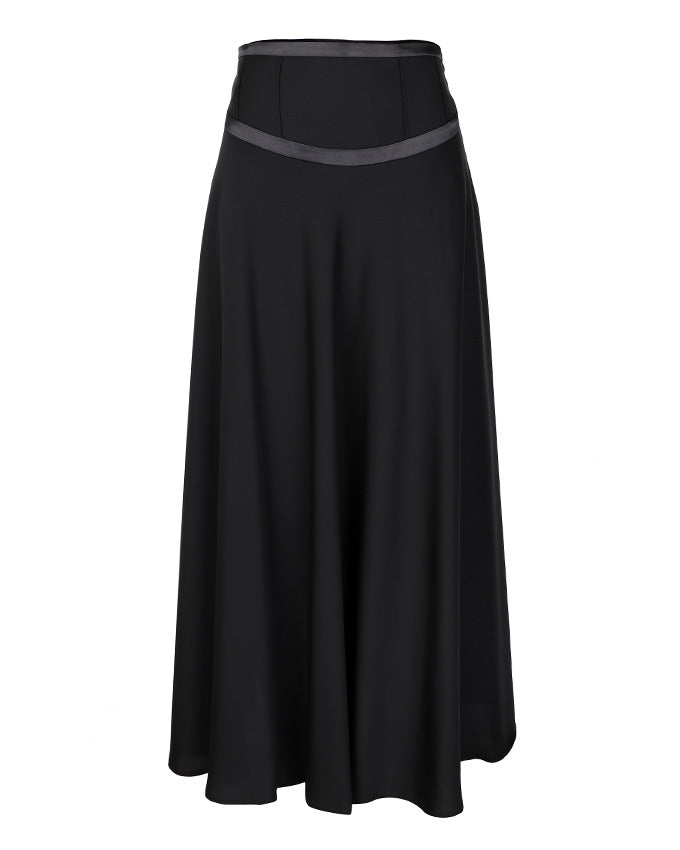 Front view of flared black maxi skirt