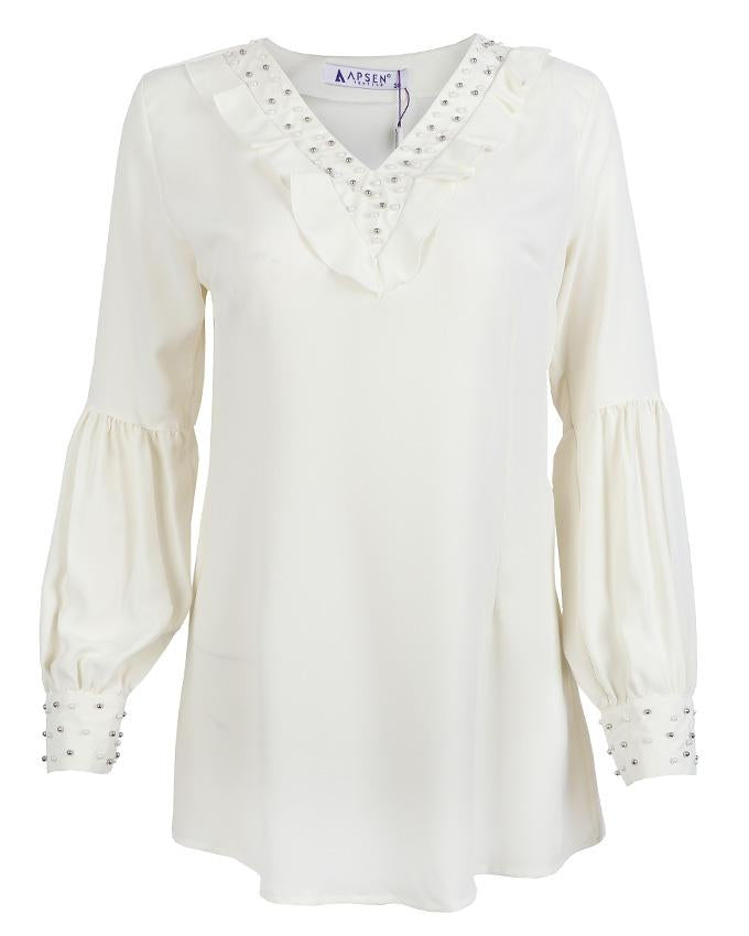 Ivory Pearl Detail Blouse