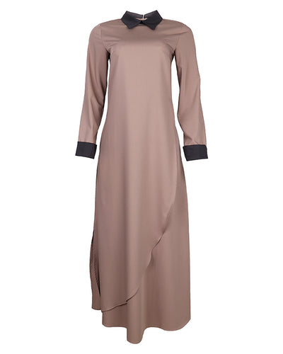 Mink & Grey Contrast Collar Dress