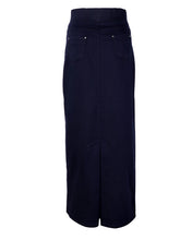 Back view of navy blue straight skirt