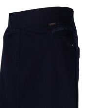 Pocket details of navy blue skirt