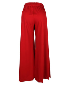 Back view of bordeaux palazzo pants