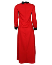 Back view of red and black contrast collar dress