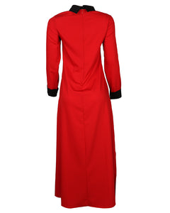 Red & Black Contrast Collar Dress