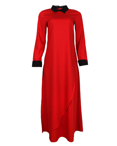 Red and black contrast collar maxi dress