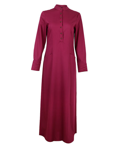 Front view of  purple maxi work abaya with gold button