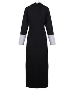 Back view of modern day black and silver abaya