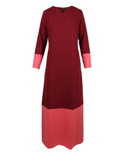 Front view of burgundy v-neck maxi work Abaya