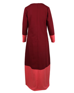 Back view of v-neck burgundy maxi work abaya