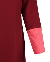 Close up on sleeve for burgundy work abaya