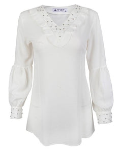 White Pearl Detail Blouse