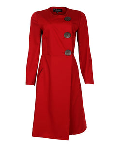 front view Bordeaux midi wrap dress