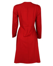 Back view of bordeaux midi wrap dress