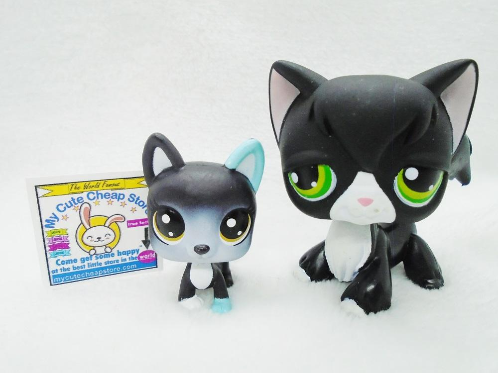 Authentic Original Littlest Pet Shop Black And White Tuxedo Cat LPS #55 with mini kitten - My Cute Cheap Store