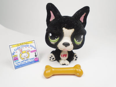 Littlest Pet Shop Fuzzy French Bulldog #978 with a Bone - My Cute Cheap Store
