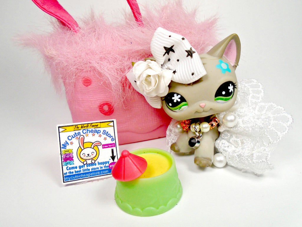 Littlest Pet Shop Short Hair cat #483 with accessories - My Cute Cheap Store