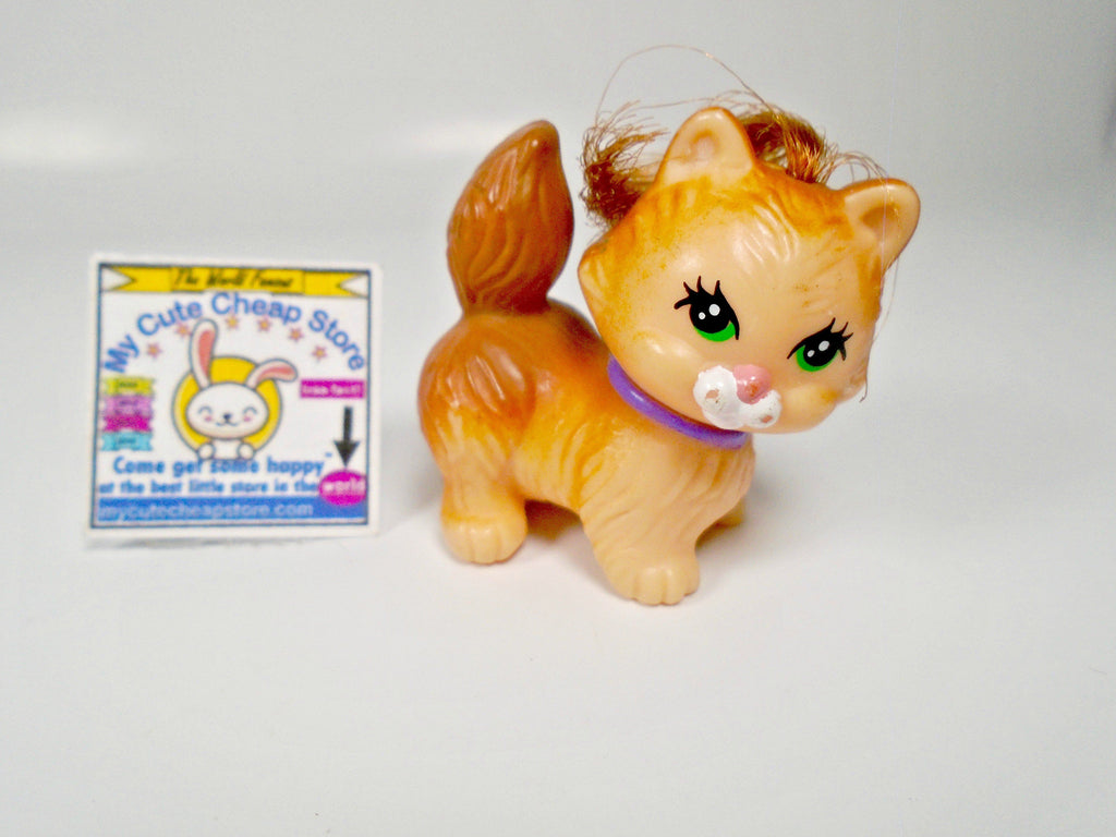 Littlest Pet Shop Kenner Yellow cat with real hair - My Cute Cheap Store