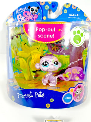 Littlest Pet Shop #1841 Monkey Purple Lilac Tattoos Pop Out Scene NIB - My Cute Cheap Store
