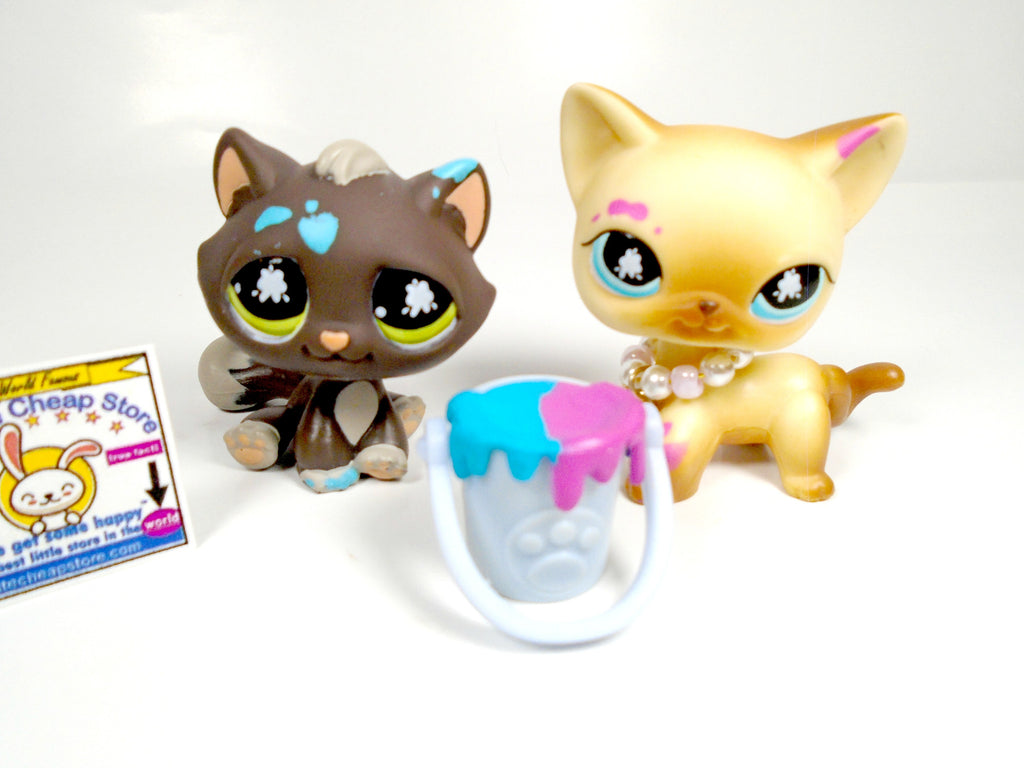 Littlest Pet Shop Messiest Cats #815 and #816 with accessories - My Cute Cheap Store