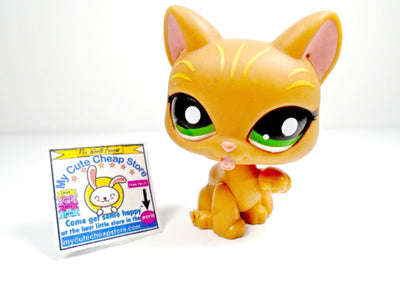 Littlest Pet Shop Orange Cat Licking Paw #1188 Stripes w/ Green Eyes - My Cute Cheap Store