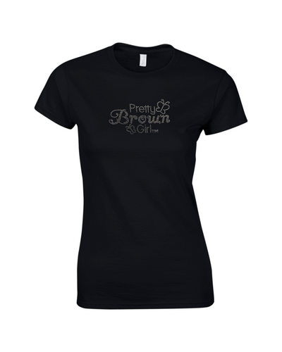 Rhinestone Black Pretty Brown Girl T-Shirt
