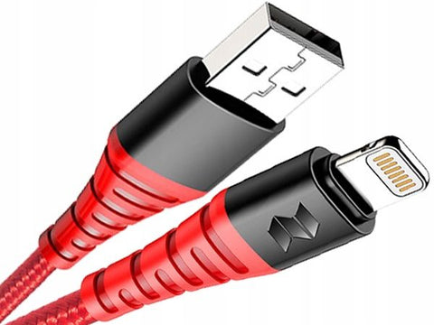 ROCK MFI LIGHTNING CABLE 100CM RED